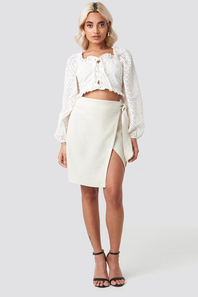 Belted Wrap Mini Skirt Outfit.