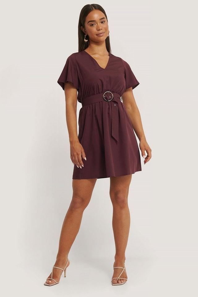 Short Sleeve V-Neck Belt Dress Burgundy.