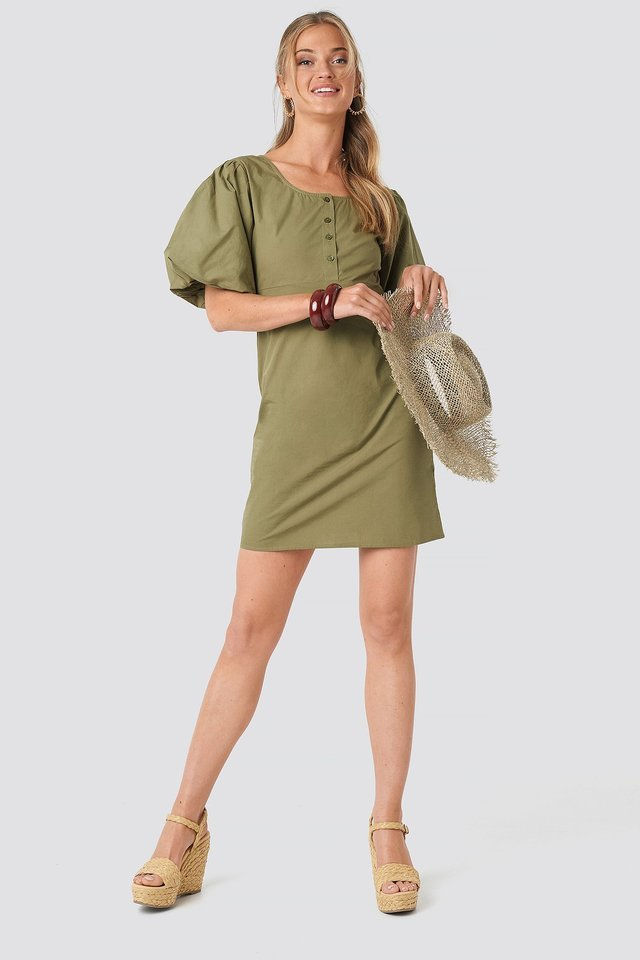 Short Puff Sleeve Button Up Dress Green.