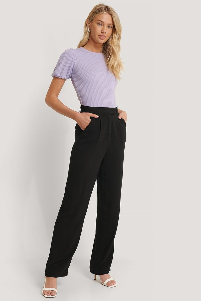 Straight Flowy Pants Outfit.