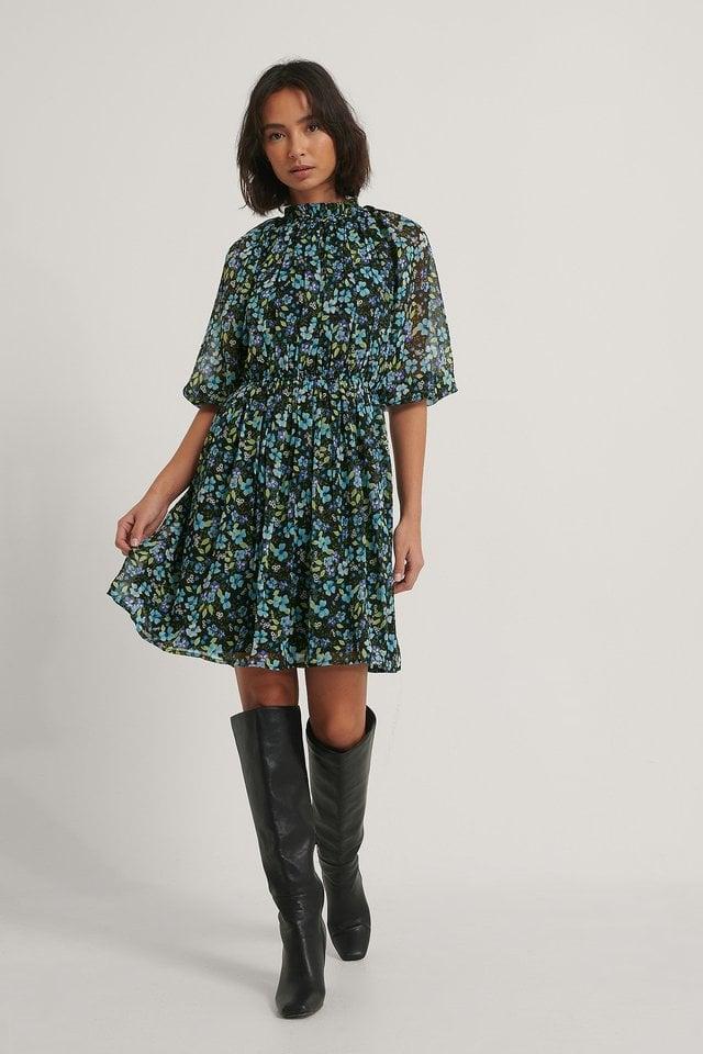 High Neck Elastic Waist Puff Dress Outfit.