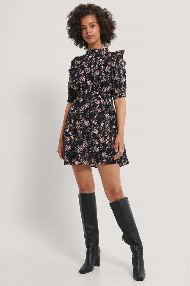 High Neck Flounce Mini Dress Outfit.
