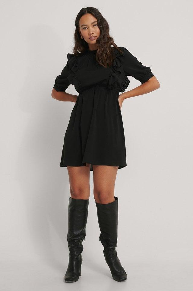 High Neck Flounce Mini Dress Outfit