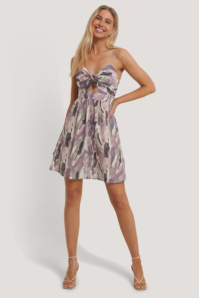 Knot Front Cut Out Dress Outfit.