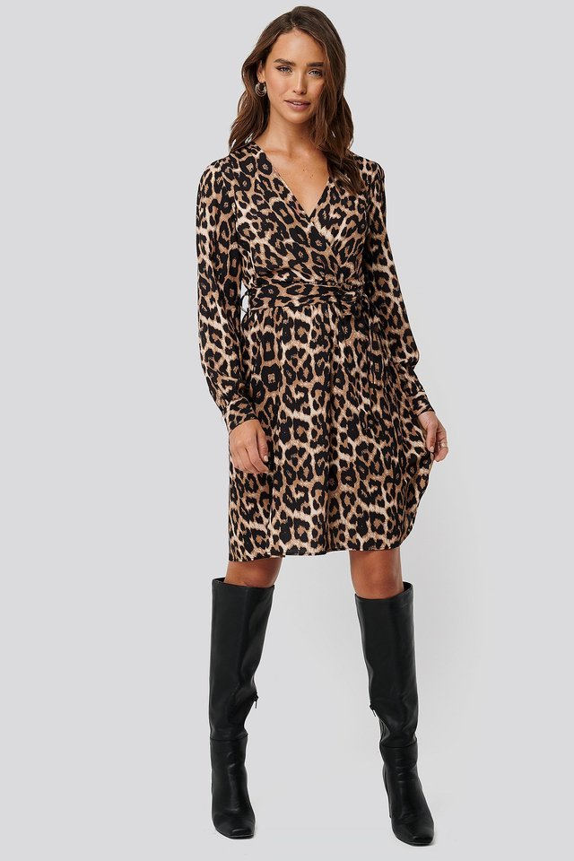 Leopard Printed Double Breasted Dress Outfit.