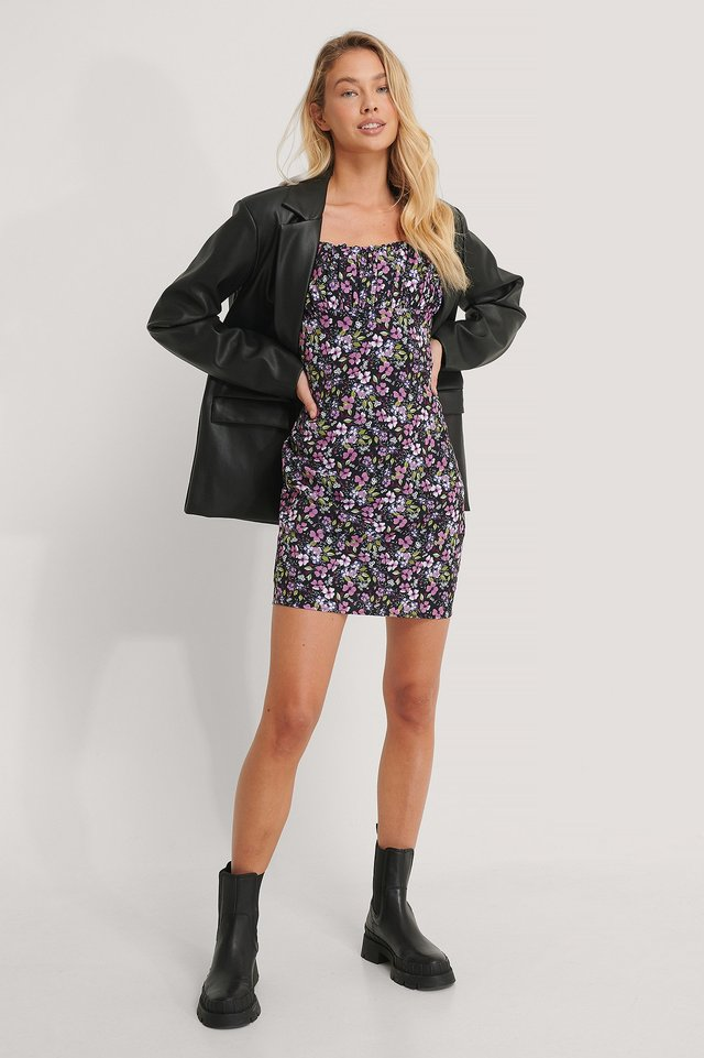 Front Gatherings LS Mini Dress Outfit.