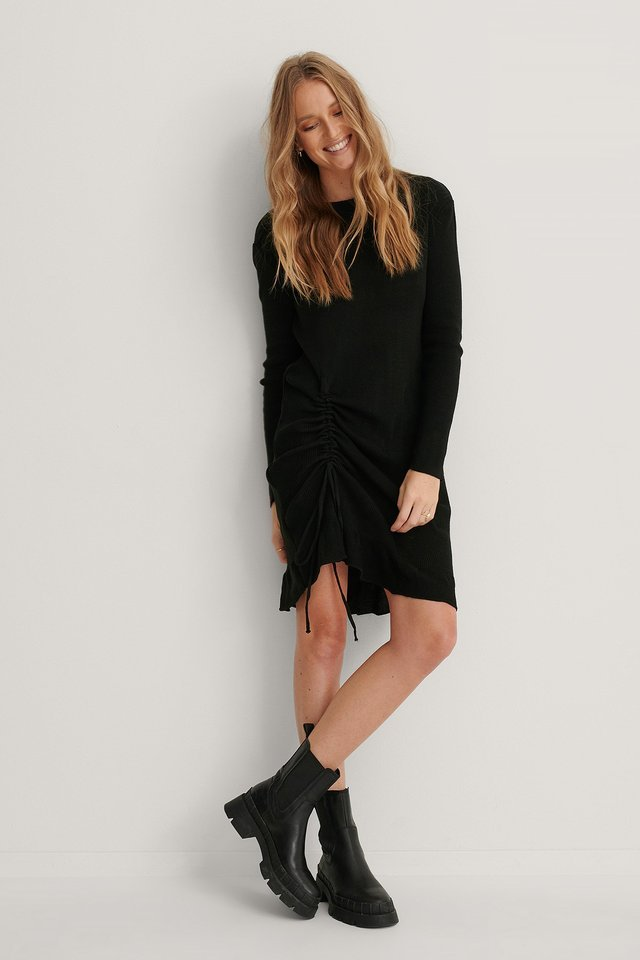Pleated Side Detailed Mini Dress Outfit.
