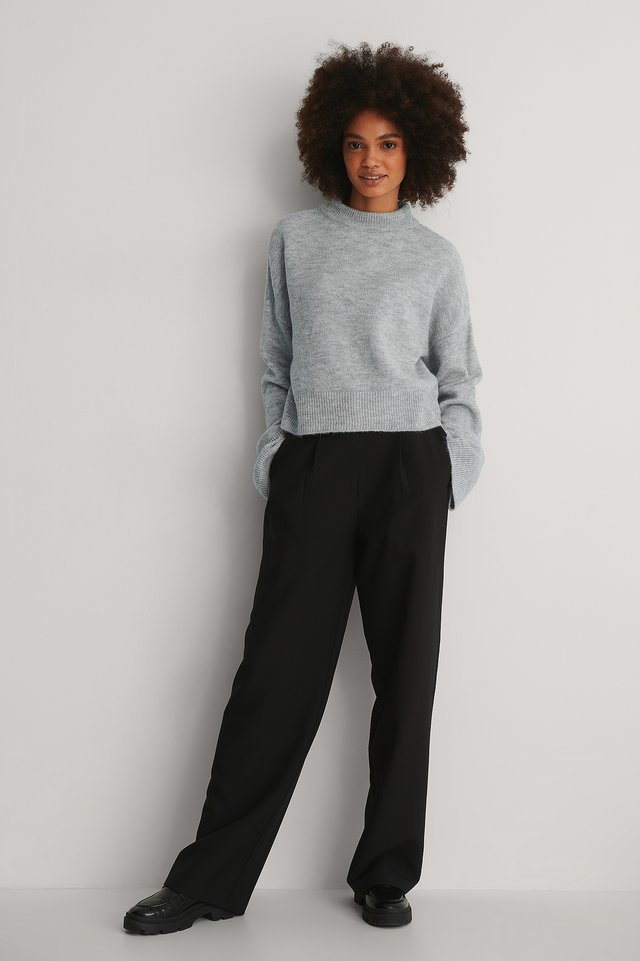 Wide Sleeve Round Neck Knitted Sweater Outfit!