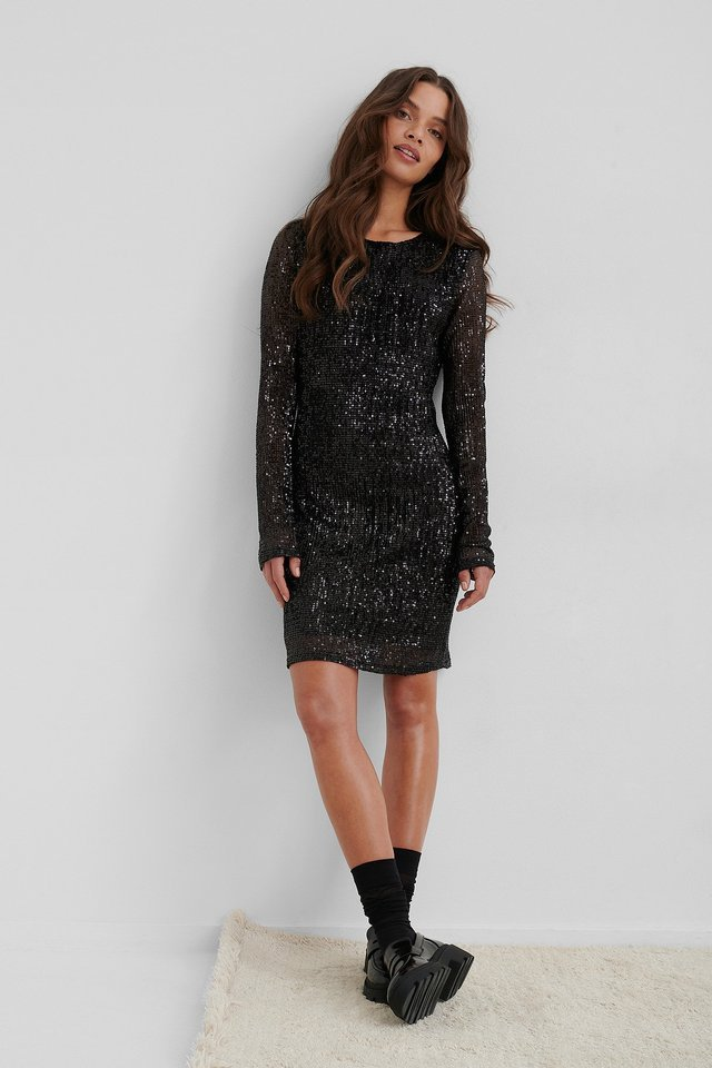 Silver Sequin Round Neck Mini Dress