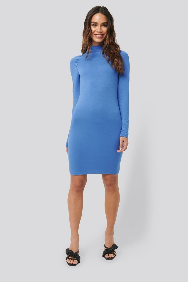 Ruched Raglan Sleeve Dress Blue.