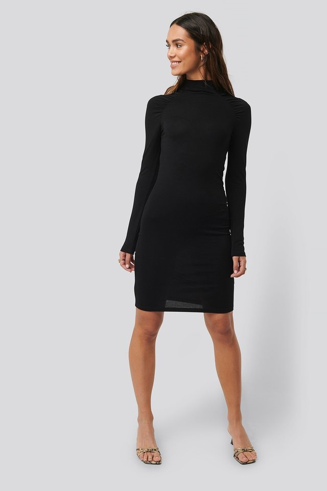 Ruched Raglan Sleeve Dress Black.