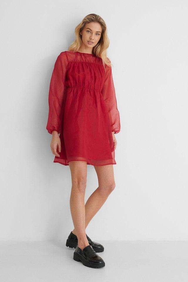 Round Neck LS Organza Dress Red.