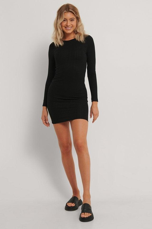 Rib Mini Dress Black.