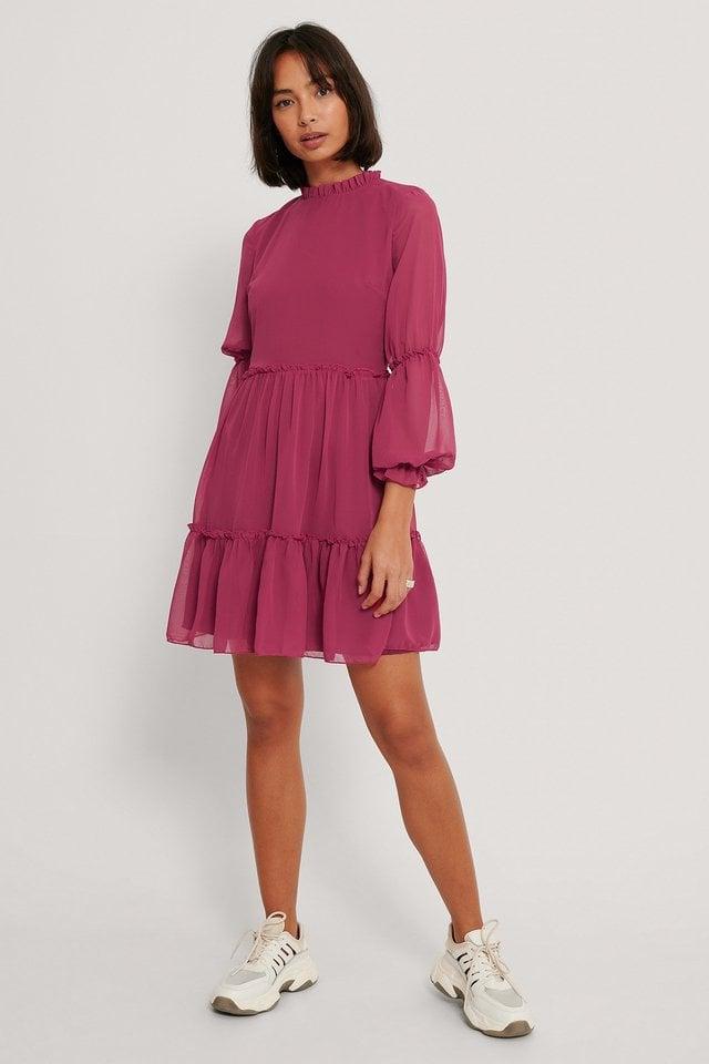 Mini Mesh Sleeve Dress Outfit.