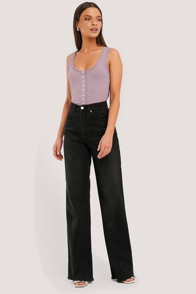 Button Ribbed Tank Top Outfit.