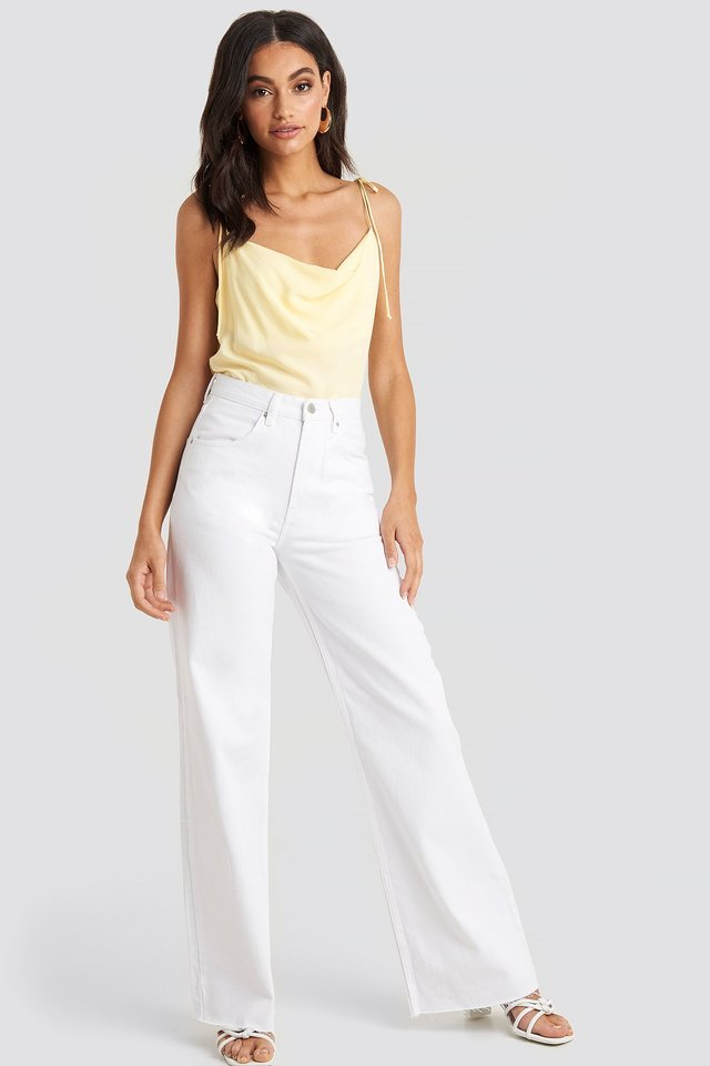 Pale Yellow Tie Strap Cami Top