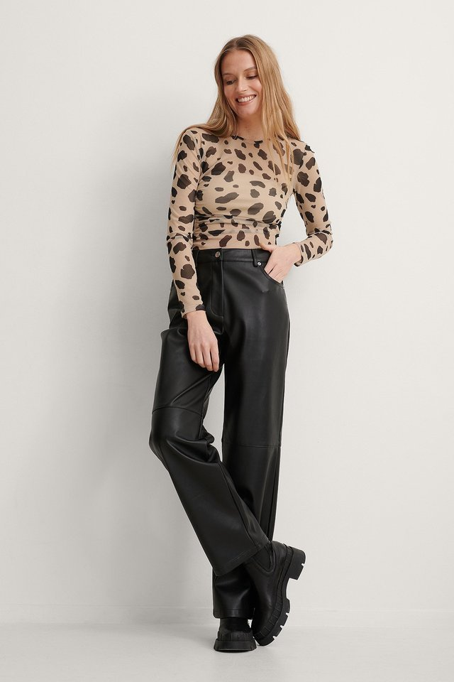 Asymmetric Gathered Mesh Top Outfit.