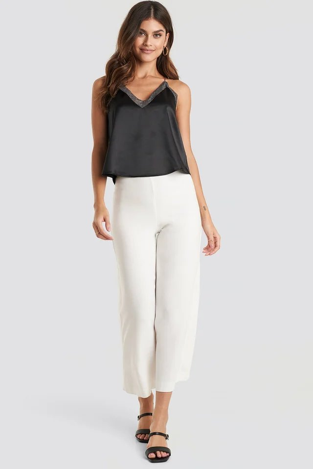 Contrast Lace Satin Cami Top Outfit.