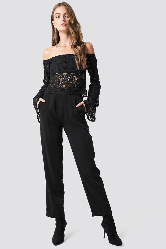 Off Shoulder Flounce Sleeve Lace Top Outfit.