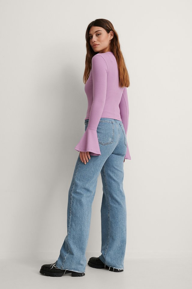 High Neck Trumpet Sleeve Top Outfit.
