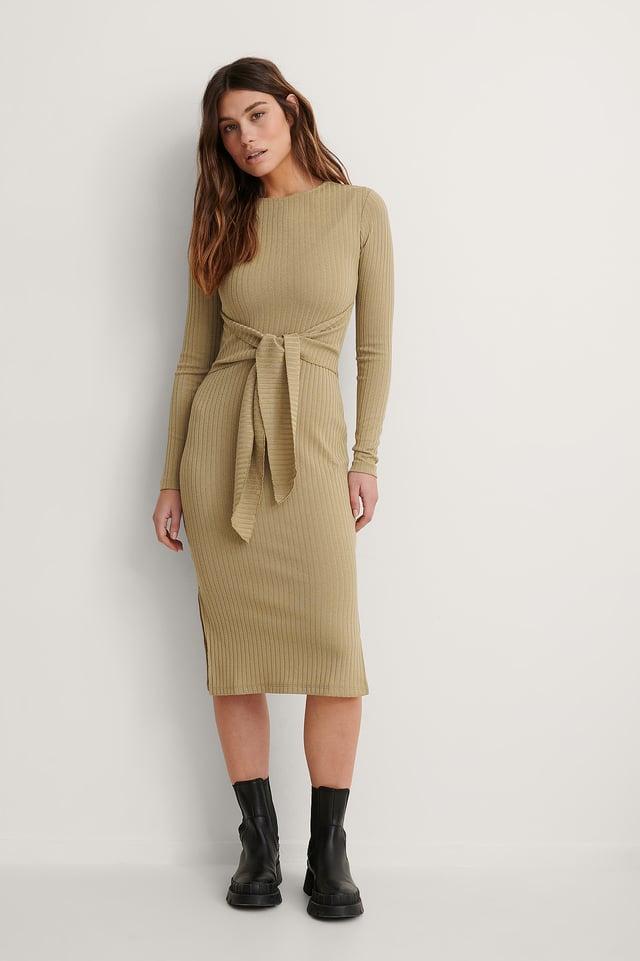 Belted Detail Side Slit Dress Outfit.