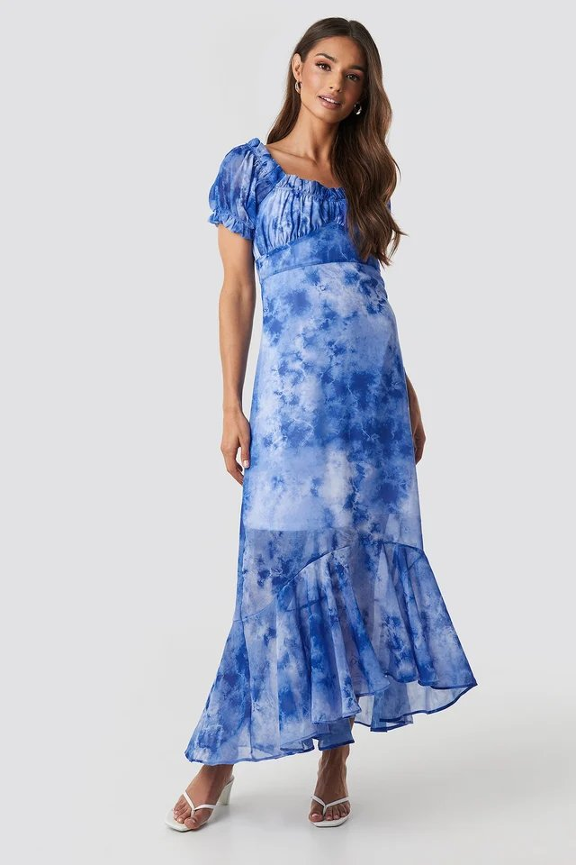 Tie Dye Puff Sleeve Maxi Dress Outfit.