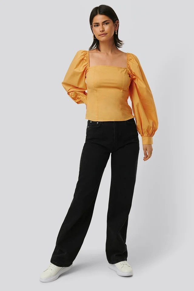 Balloon Sleeve Blouse Outfit.