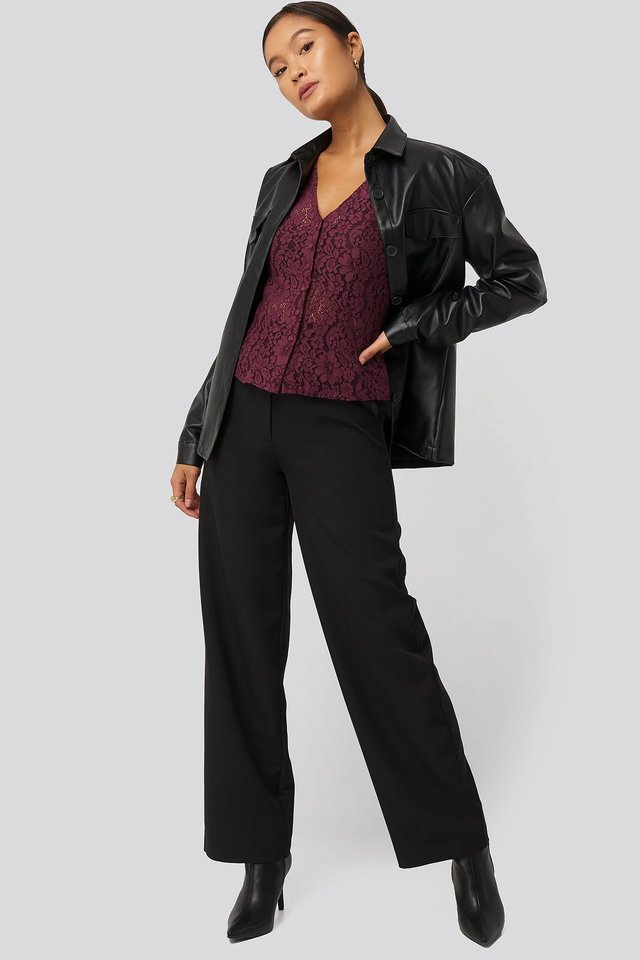 Burgundy Volume Puffy Sleeve Lace Blouse