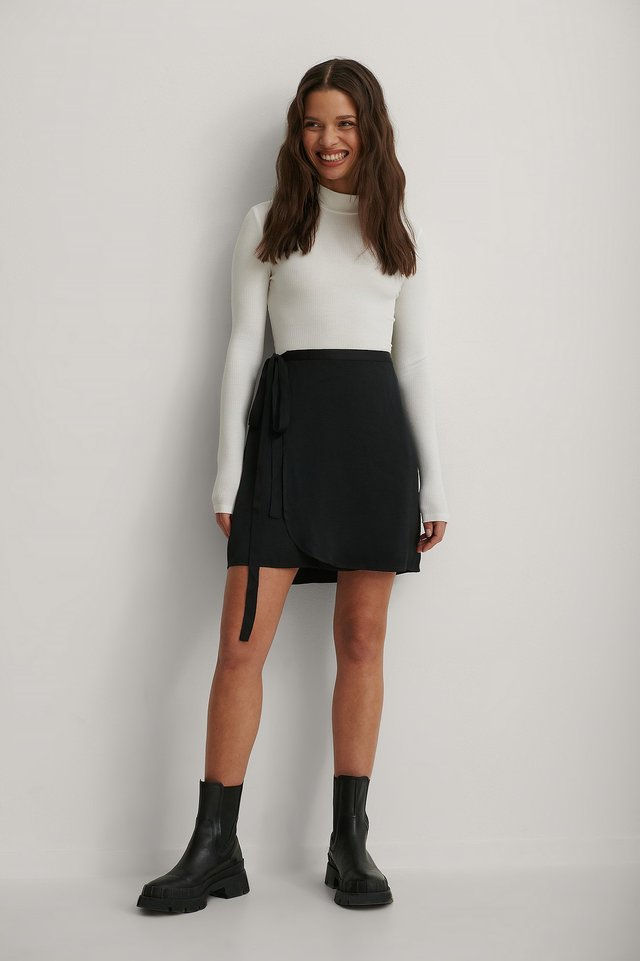 Tie Waist Satin Skirt and Long Sleeve Tie Back Top Outfit.