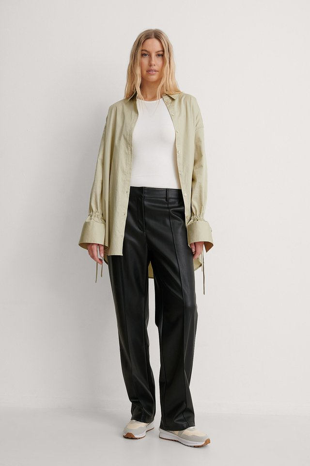 Tied Sleeve Shirt Outfit.