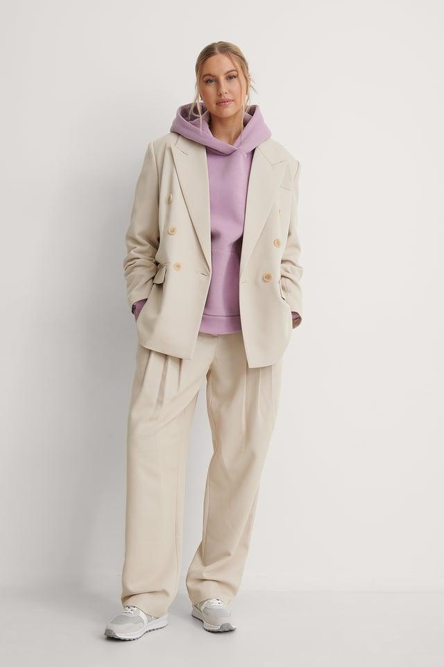 Organic Brushed Pocket Detail Hoodie Outfit.