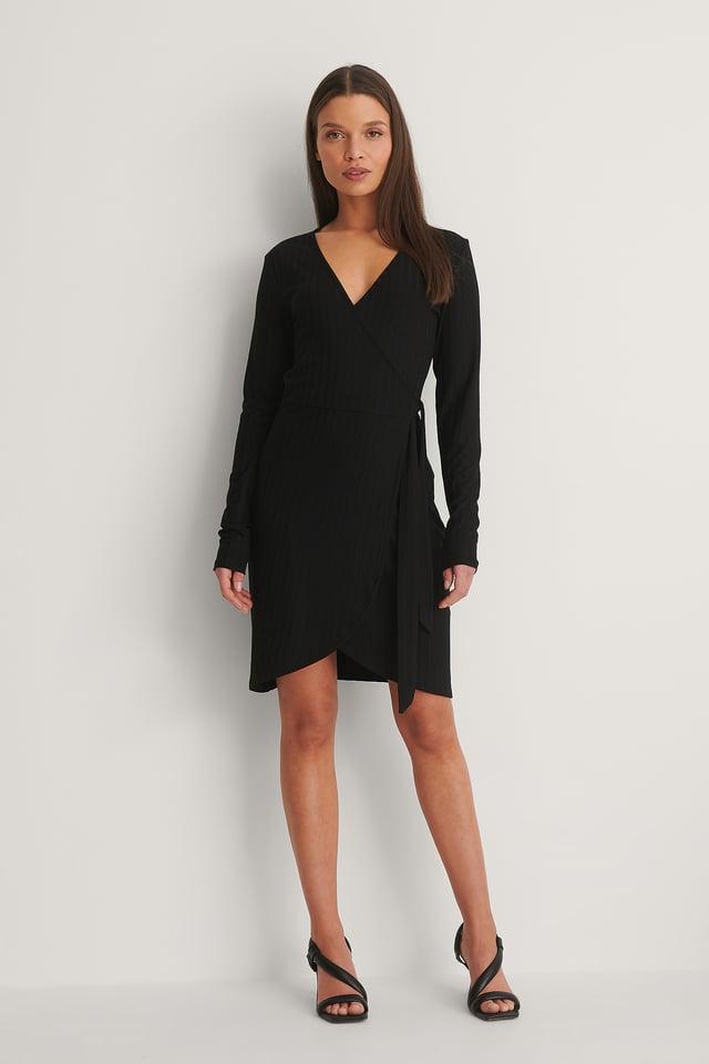 Black Robe Cache-Cœur À Manches Longues