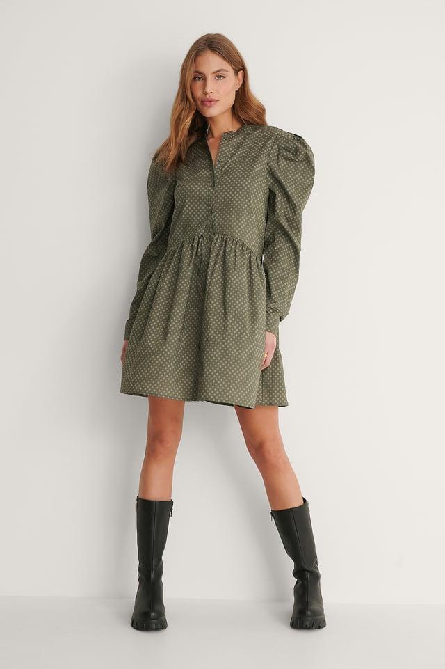Green Print Robe À Épaules Bouffantes Avec Boutons