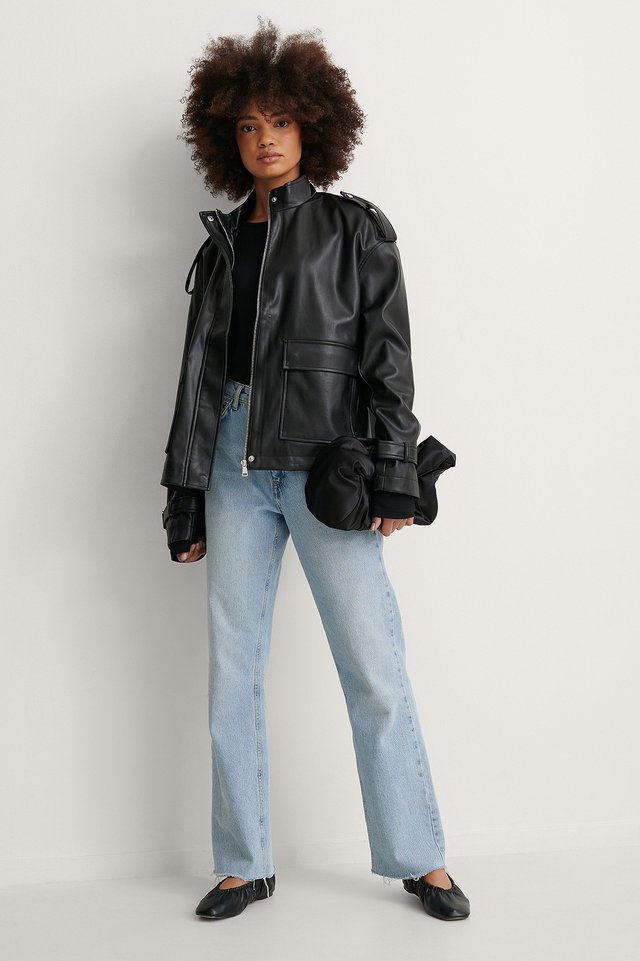 Oversized PU Drawstring Jacket
