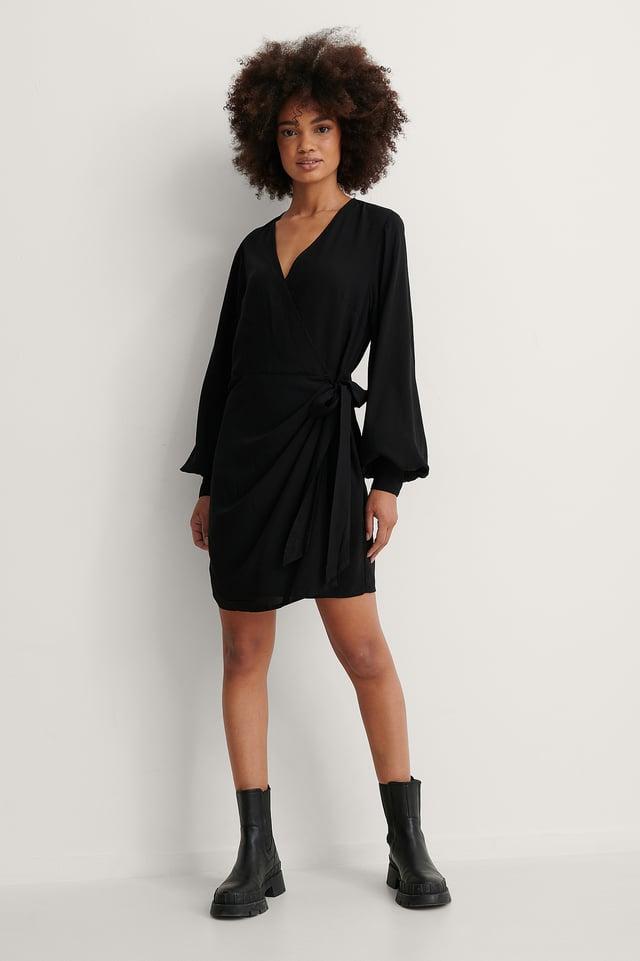 Overlap V Neck Dress Outfit