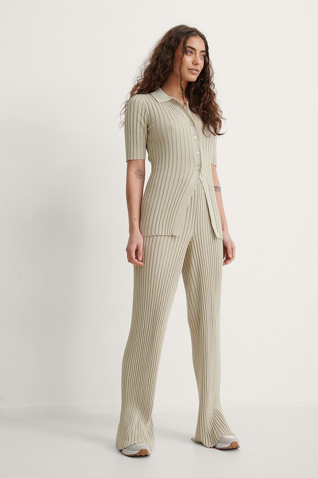 Ribbed Knitted Button Top Outfit.