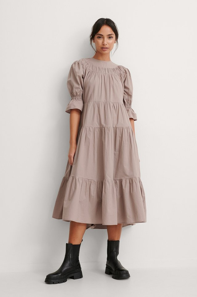 Gather Panel Detail Dress Outfit