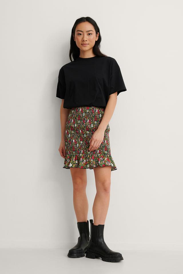 Smocked Frill Mini Skirt
