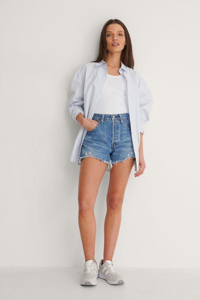 Levis 501 High Rise Shorts Outfit