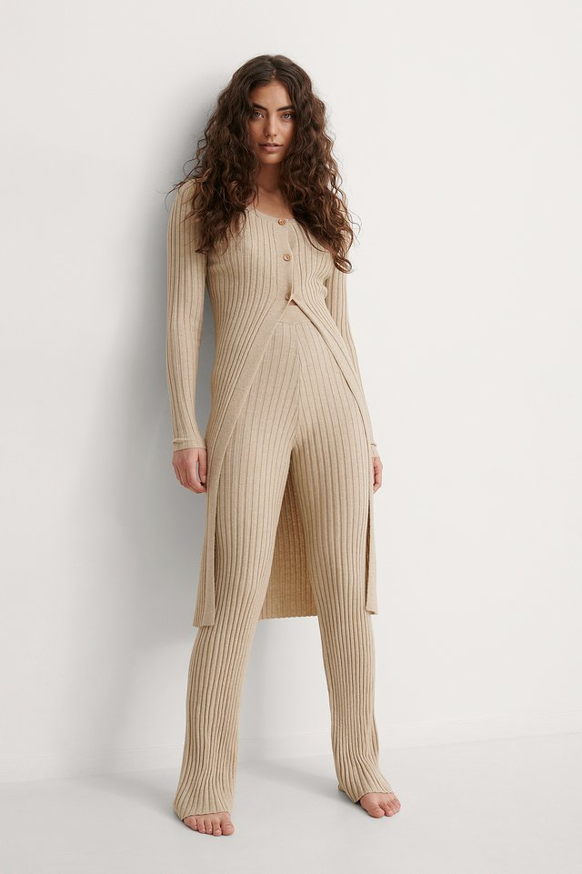 Knitted Rib Long Cardigan Outfit