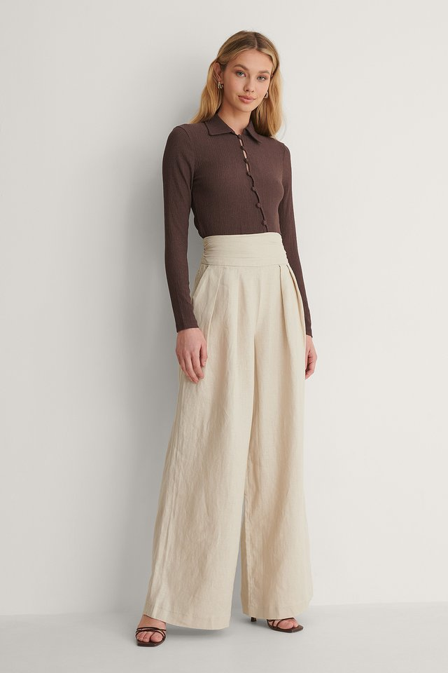 Crepe Jersey Button Top Outfit.