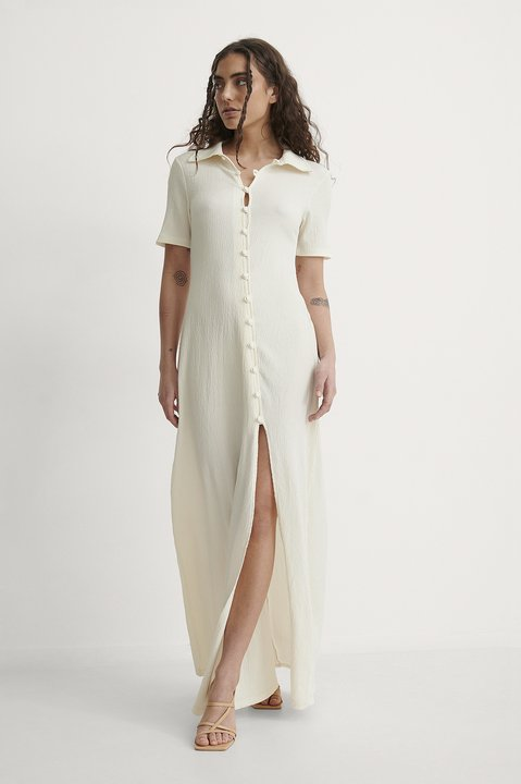 Crepe Jersey Button Dress Outfit.