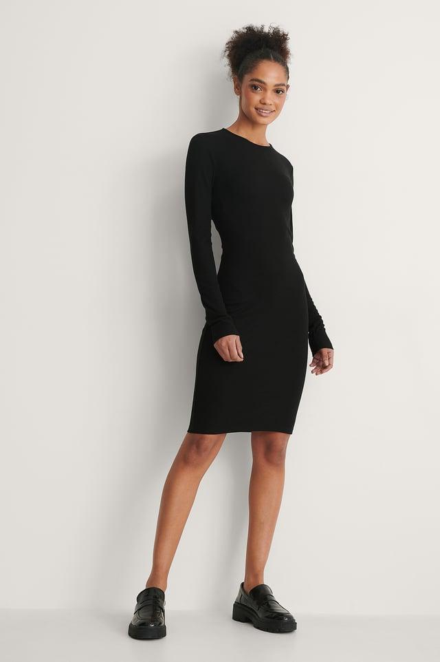 Ribbed Twist Detail Dress