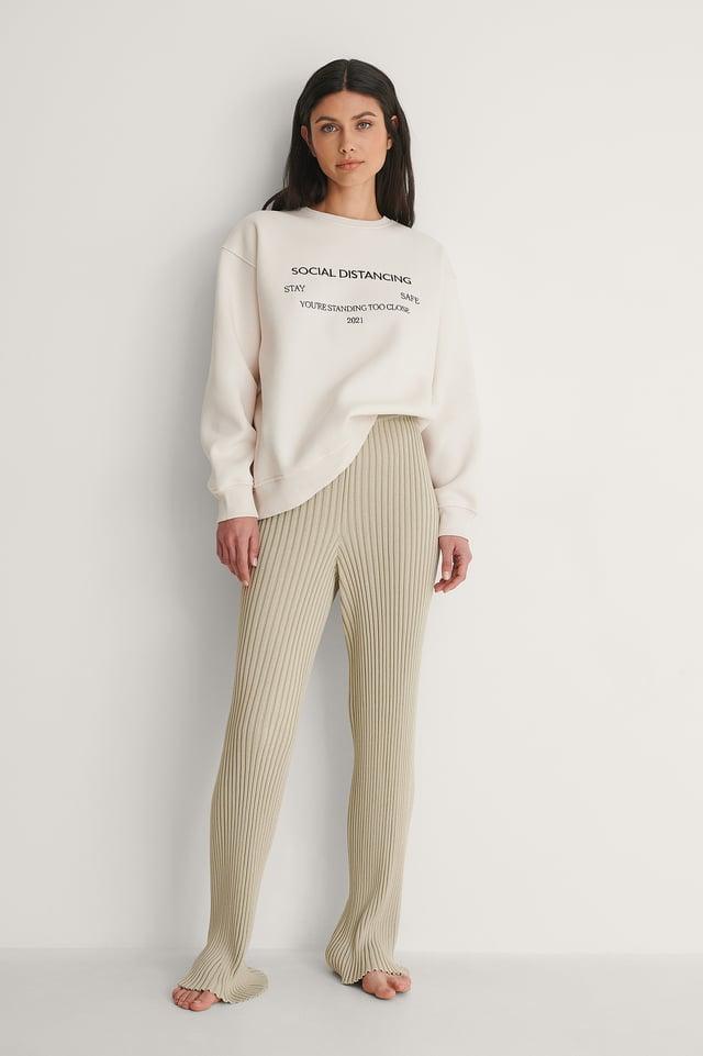Social Distance Embroidery Print Sweatshirt