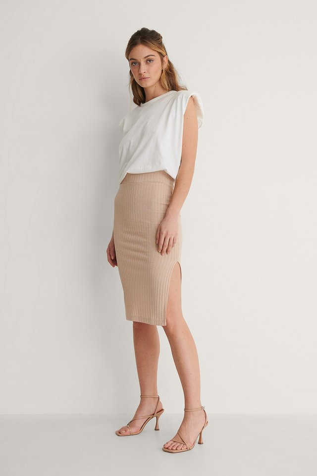 Ribbed Slit Detail Skirt Outfit