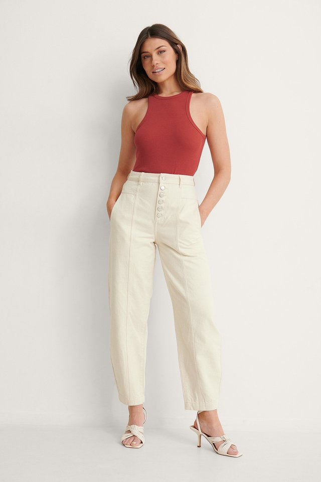 Button Fly Cocoon Jeans Outfit
