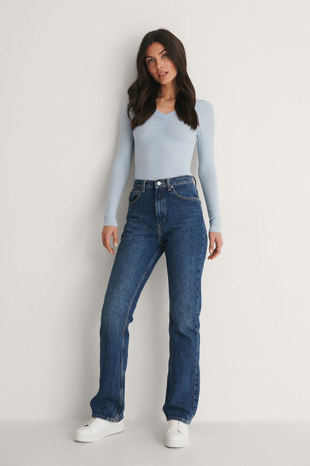 Front Rouched Ribbed Top Outfit