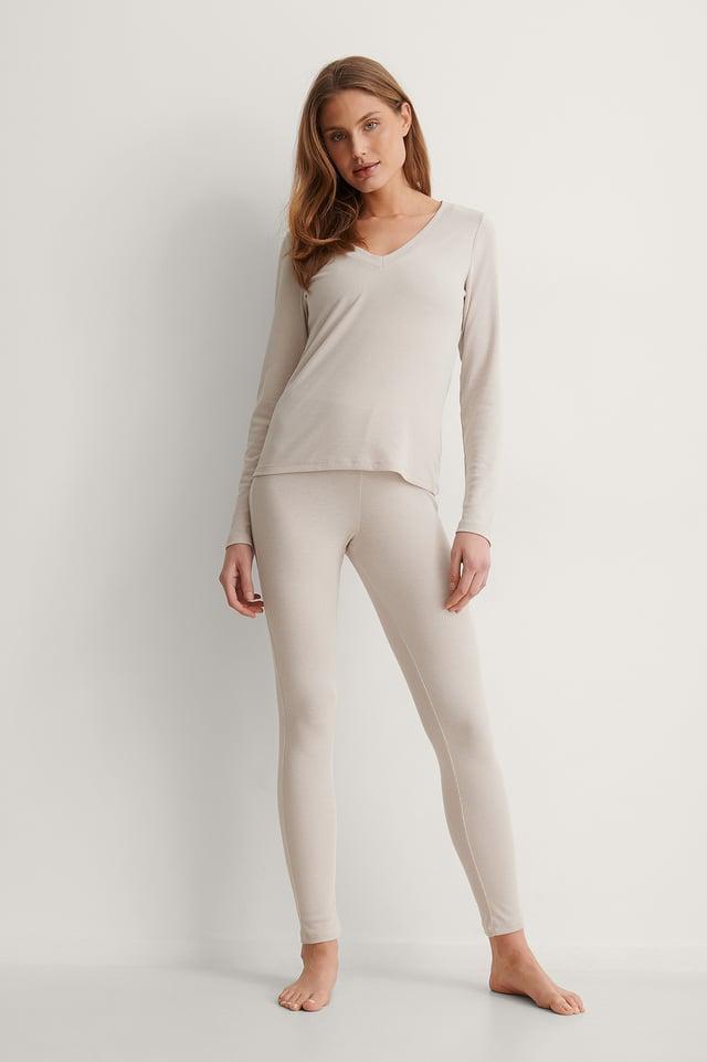 Dusty Light Beige Collants Taille Haute Recyclés Côtelés