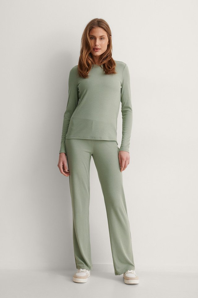Recycled Soft Ribbed Wide Pants