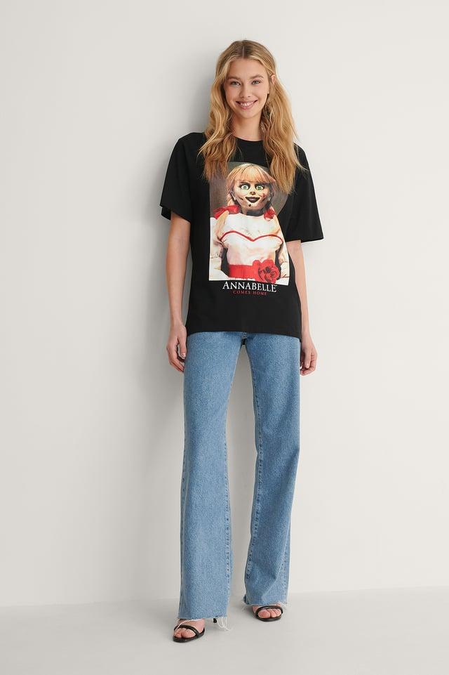 Black Print Annabell T-Shirt Imprimé Unisexe